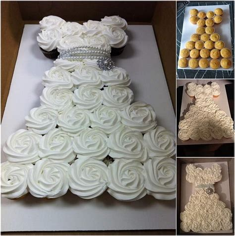 cupcake wedding dress make an amazing wedding dress cupcake cake for bridal shower