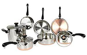 amazoncom revere  piece copper bottom cookware set revere ware copper bottom kitchen dining