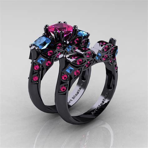 black and blue wedding rings designer classic 14k black gold three stone princess pink sapphire blue topaz engagement ring