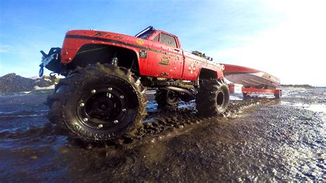 Rc Trucks Pulling Boats On Trailers by Rc Adventures Mega Mud Truck Blows Motor Pulling Speed
