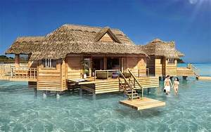 over the water bungalow soon to be built off the private With honeymoon huts over water