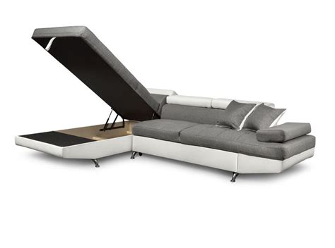 canapé d angle simili canapé d 39 angle en simili cuir et tissu gauche blanc gris
