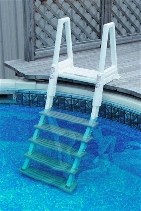 Above Ground Pool Ladder For Deck by Above Ground Deck To Pool Adjustable Ladder Confer
