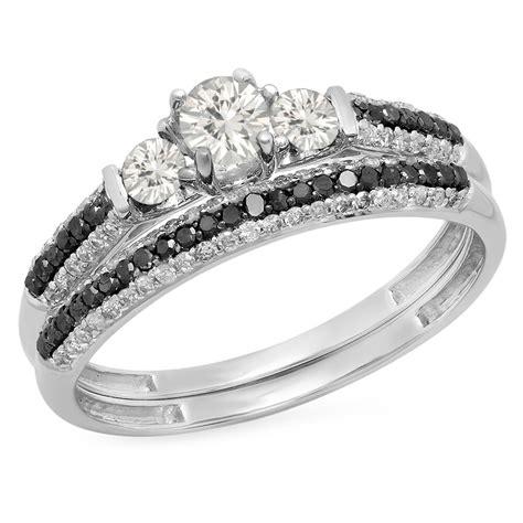 10k white gold diamond 3 stone bridal engagement ring size 8 5 ebay