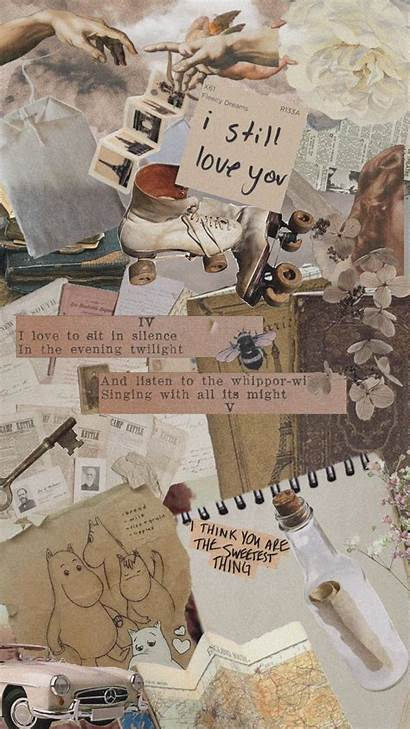 Aesthetic Quotes Collage Brown Tan Beige Wallpapers