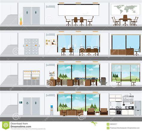des bureaux immeuble de bureaux coupé avec le plan de développement