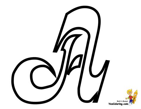 elegant cursive letter coloring page  letter