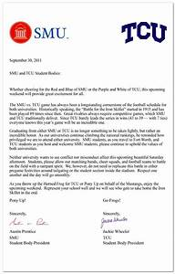 Joint Letter by Student Body Presidents for SMU and TCU  SMU