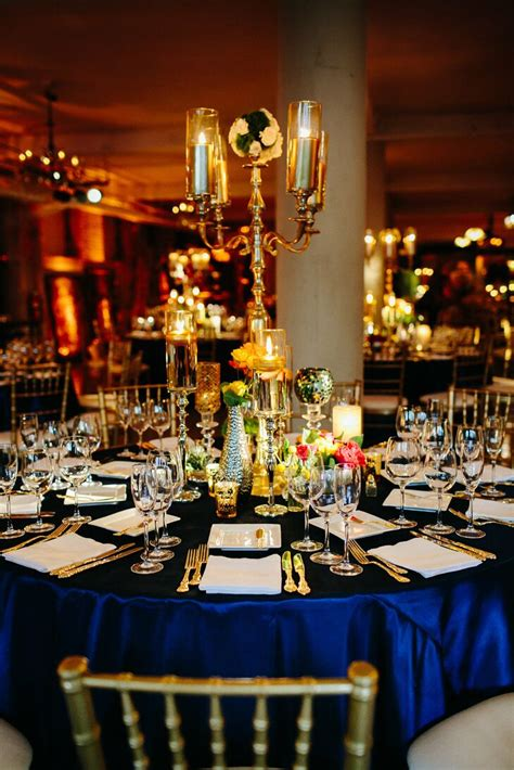 Vintage Gold and Navy Table Setting