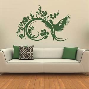 Floral decorative bird wall stickers art decals