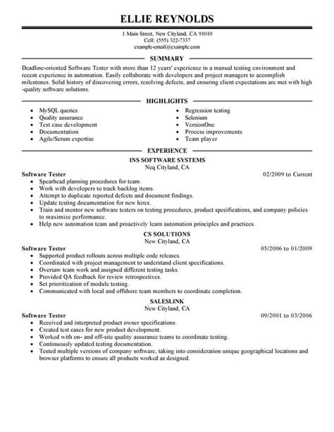 resume templates for software testing best software testing resume exle from professional