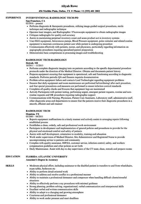 Brilliant Ideas Of Radiologic Technologist Sample Resume Entry Level