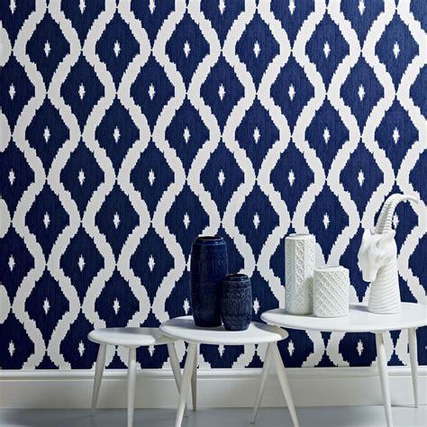 kellys ikat white  prussian blue wallpaper graham