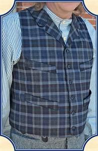 Notch Lapel Vest Heirloom Brand Blue Grey Plaid Dress Wool