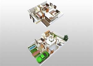 3d, Floorplan, Of, 2, Storey, House