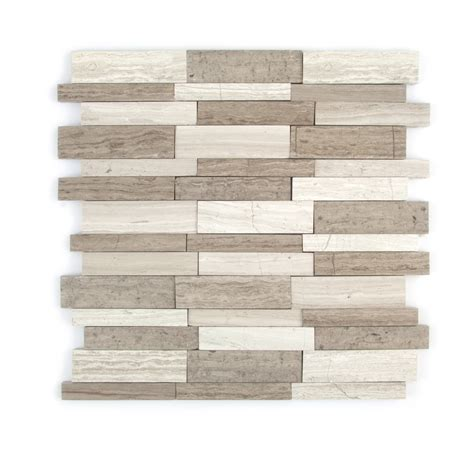 Gbi Tile And Stone Glassdoor by Shop Gbi Tile Amp Stone Inc Gray Linear Mosaic Marble Wall