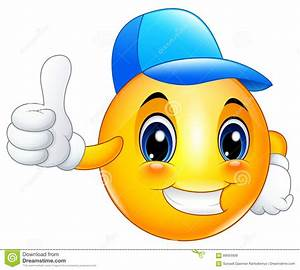 Cartoon Emoticon Smiley Wearing A Cap And Giving A Thumbs ...