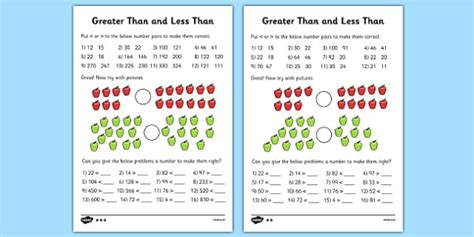 greater     worksheets differentiated