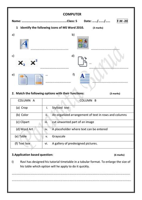 2nd worksheet for class 5 ms word notes