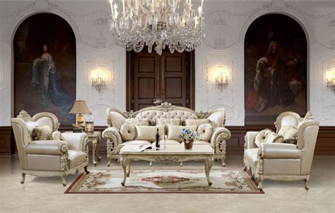 Off White Leather Antique Formal Sofa Set