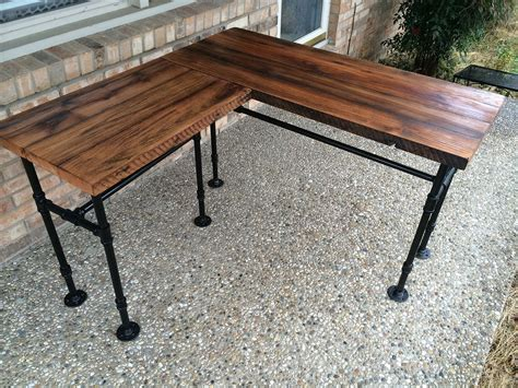 black iron pipe desk galleon rustic reclaimed barn wood l desk table solid