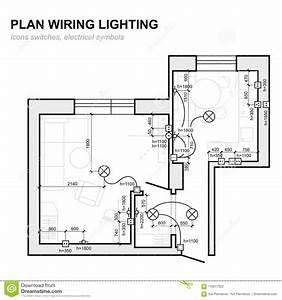 Plan Wiring Lighting  Electrical Schematic Interior  Stock
