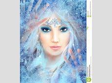 Snow Queen Winter Beautiful Woman Stock Illustration