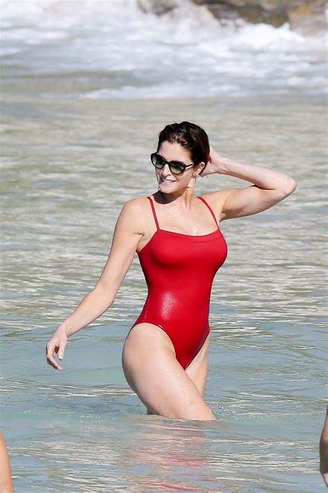 red swimsuit stephanie seymour in red swinsuit st barts january 2014