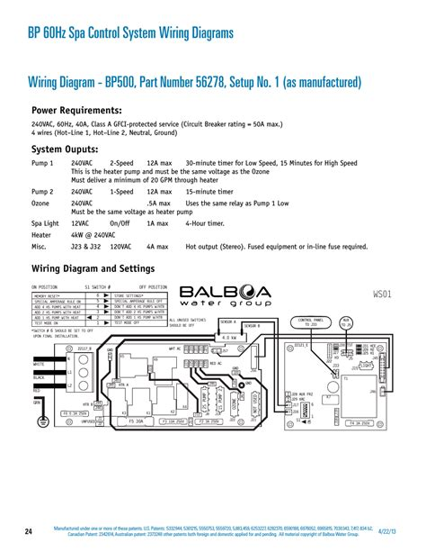 bp 60hz spa system wiring diagrams power requirements system ouputs balboa water