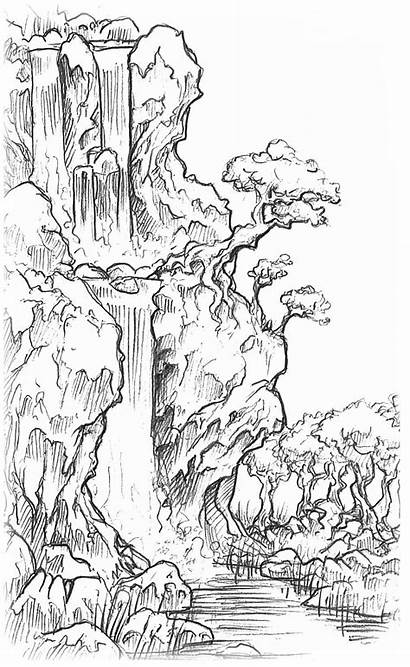 Waterfall Drawing Landscape Pencil Line Landscapes Water