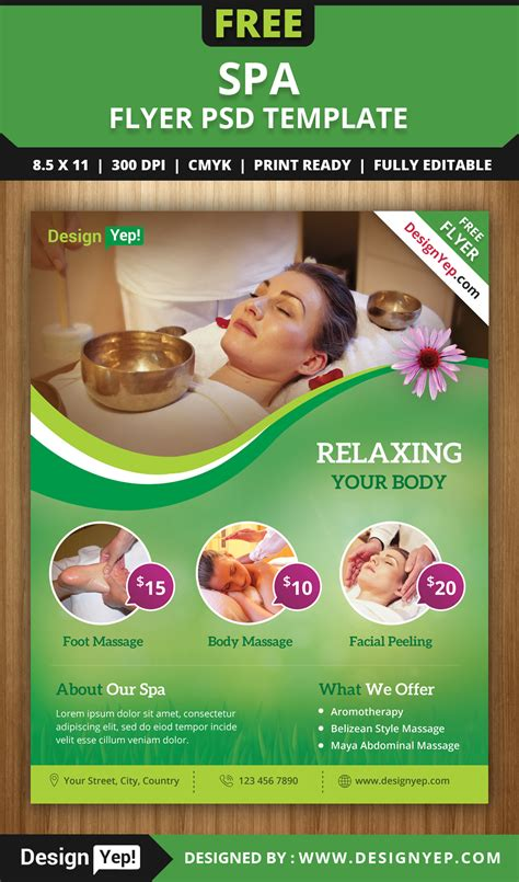 Free Spa Brochure Templates Free Spa Flyer Psd Template For Designyep