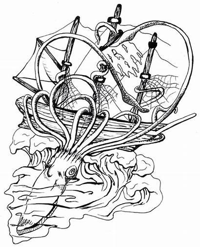 Squid Ship Tattoo Giant Octopus Tattoos Designs