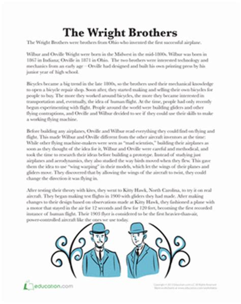 the wright brothers worksheet education