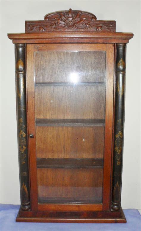 antique medicine cabinet antique vintage carved wooden glass curio knick knack