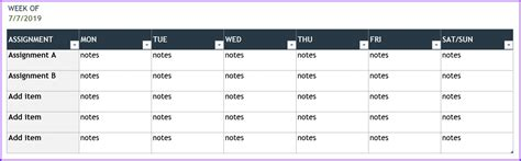 personal weekly planner template exceltemplatesorg