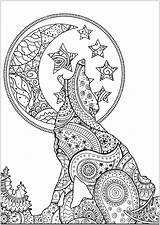 Coloring Wolf Adults Zentangle Wolves Mandala Adult Lobos Colorare Loup Colorear Coloriage Lupi Animal Disegni Lune Adulti Silhouette Adultos Colouring sketch template