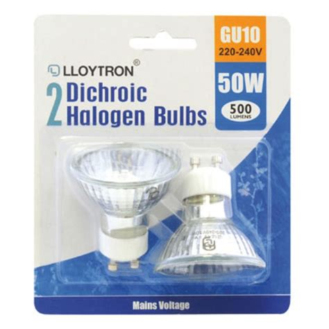 gu10 50w 220 240v dichroic halogen bulb blister