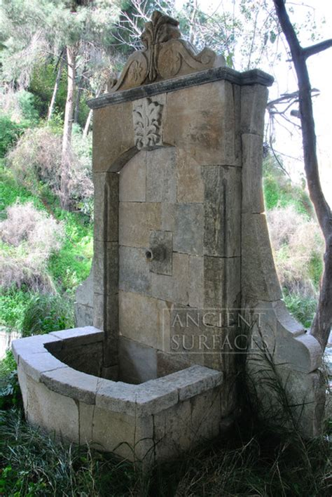 wall fountains   antique limestone mediterranean