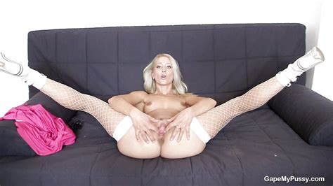 Uma In Blonde Spreads Her Legs Wide And Her Pussy Wider