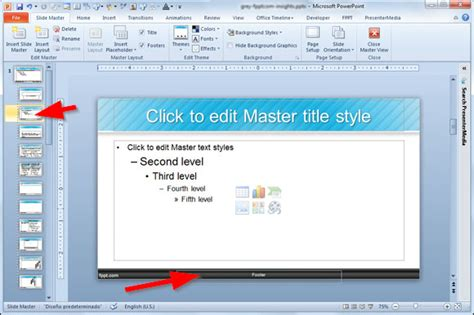 adding  footer   powerpoint