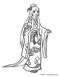 Coloriages Coloriage Princesse Japonaise Fr Hellokids Com