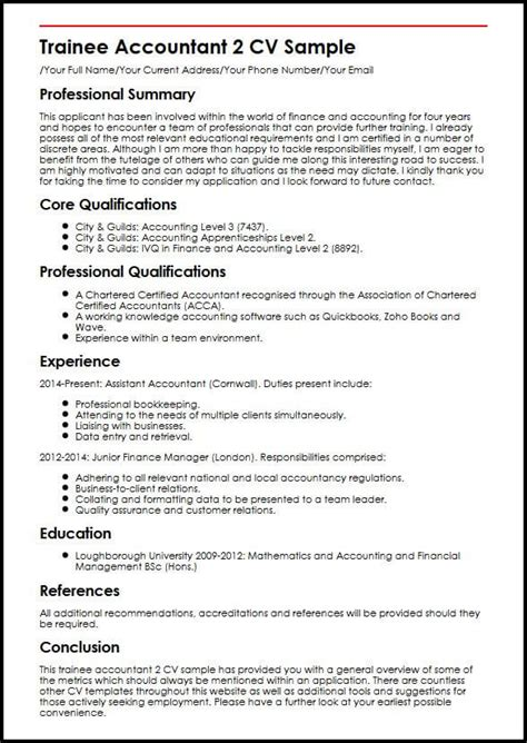 trainee accountant  cv sample myperfectcv