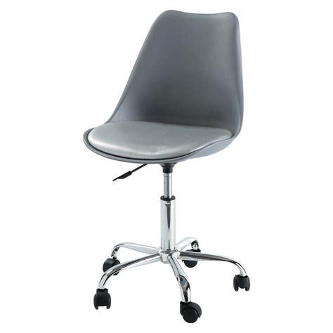 bureau à roulettes chaise de bureau à roulettes grise bristol maisons du monde