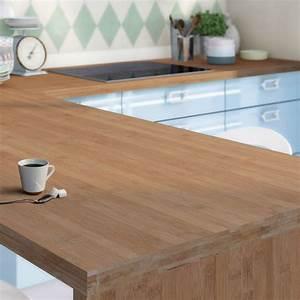 plan de travail bois bambou pre huile satine l300 x p65 With plan de travail exterieur bois