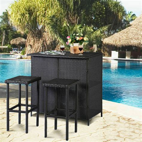 Outside Bar Furniture by 3pc Outdoor Rattan Wicker Bar Set Patio Outdoor Table 2