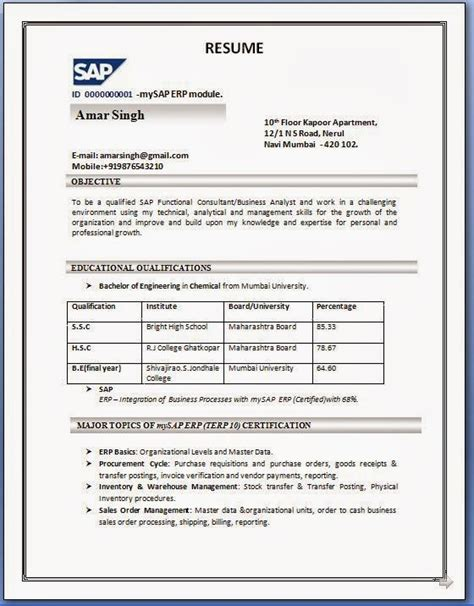 Abap Resume India by Sap Sd Resume Format
