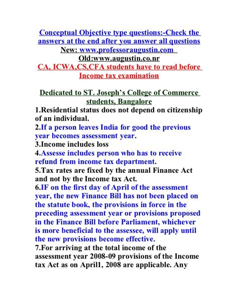 Conceptual Objective Questions And Answers In Income Tax