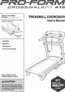 Proform 831248530 User Manual Crosswalk Fit 415 Manuals