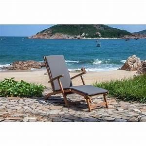 Chaise Longue Jardin Pas Cher : finlandek chaise longue en eucalyptus avec matelas gris ~ Teatrodelosmanantiales.com Idées de Décoration