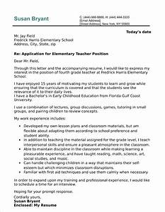 Professional Job Application Template Elementary Teacher Cover Letter Sample